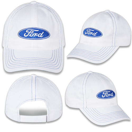 Ford Oval White Hat - four angles