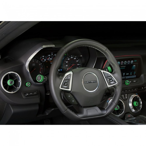 Camaro Billet Interior Knob Kit - CF Krypton Green inside