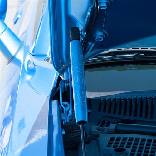 Dodge Challenger Billet Hood Shock Covers (on car)