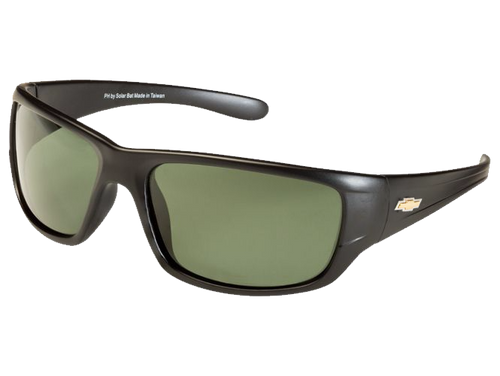 Matte Black Chevy Gold Bowtie Sunglasses - Gray/Green Tint