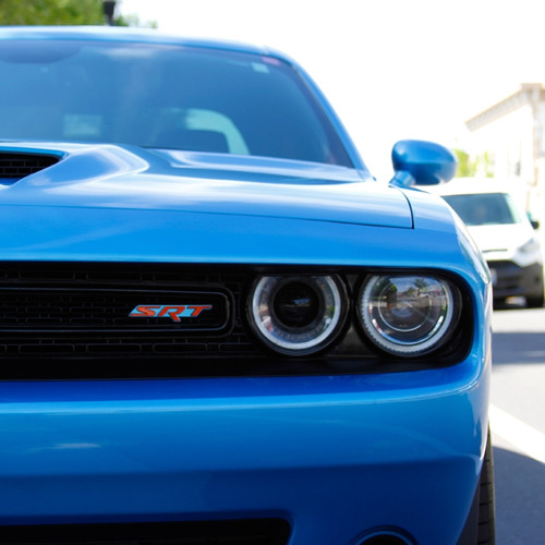 Dodge CHALLENGER SRT Hellcat Acrylic Front Grill Badge (on car)