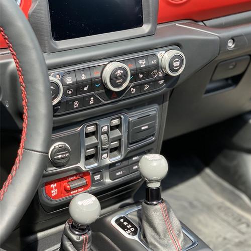 18-Up Jeep Wrangler JL Color Match Billet Knob Kit  (in car)
