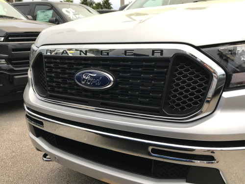 2019-Up Ford Ranger Front Grill Letter Kit (black, right side view)