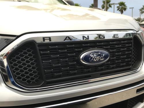 2019-Up Ford Ranger Front Grill Letter Kit (black, left side view)