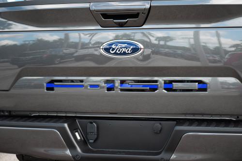 Ford 18-up F-150 Tailgate Letter Kit (Black w/ Blue Center Line)