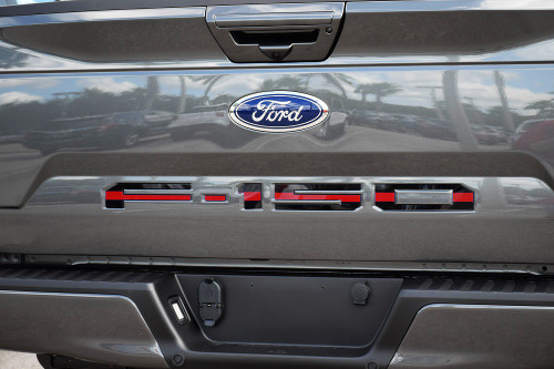 Ford 18-up F-150 Tailgate Letter Kit (Black w/ Red Center Line)