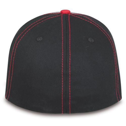 GMC Black, Gray, Red Flex Sandwich Brim Hat (back)