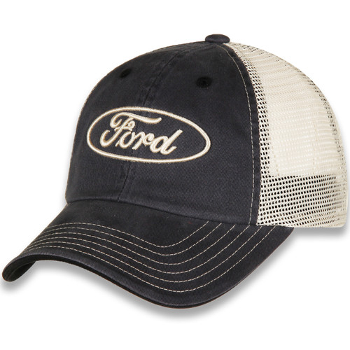 Ford Oval Gray and Khaki Mesh Hat left
