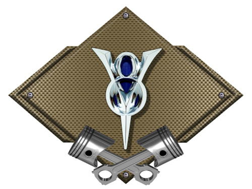 33 Ford V8 Carbon Diamond Metal Sign - Bronze