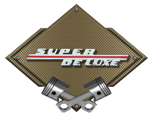 46 Ford Super Deluxe Carbon Diamond Metal Sign - Bronze