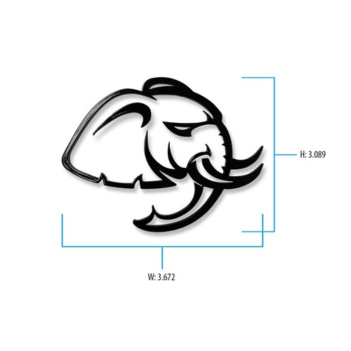 Dodge Hellephant Cutout Badge w/ dimensions