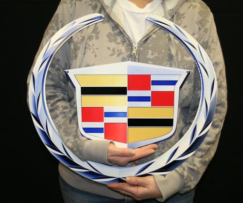 """Cadillac Crest Emblem Metal Sign - 19"""" x 17"""""""