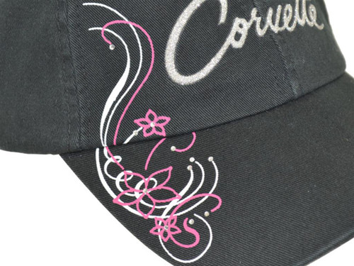 Womens Corvette Rhinestone Black Hat