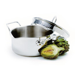 3 qt Stainless Steel Vented Pot With Straining Lid