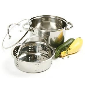 3 pc Stainless Steel Steamer Cooker Set