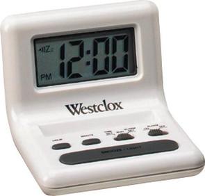 Westclox Celebrity Glo-Clock Alarm Clock, 0.8 In Digital, LCD Display, White