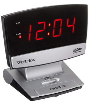 Westclox Plasma Screen Alarm Clock, With USB Charging Port, 0.9 In Digital, LED Display