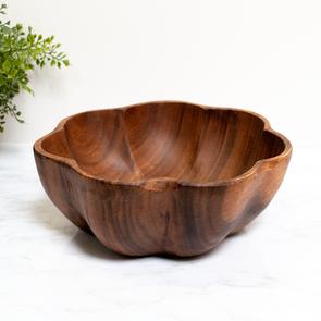 "Round Acacia Wood Flared Bowl, 10"" x 4"", K0478-Pacific Merchants"