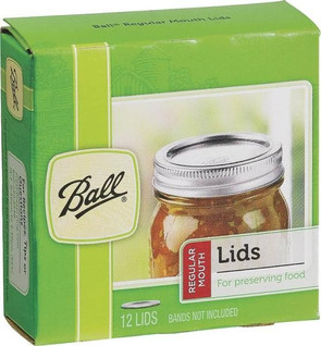 Ball Regular Mouth Mason Dome Lid, 12-Pack, Tin Coated Steel