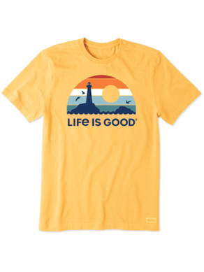 Men's Life is Good Retro Lighthouse Crusher Tee