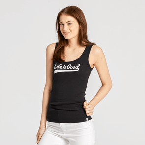 WOMEN'S LIFE IS GOOD BALLYARD SCRIPT SOFT & SIMPLE FITTED TANK