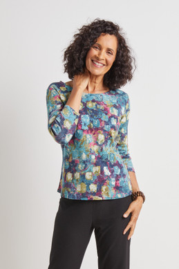 Women's Habitat Reflections Print Easy Scoop Tee