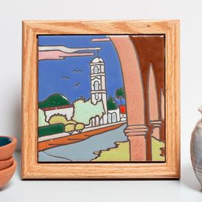 Framed Ojai Post Office Tower Tile