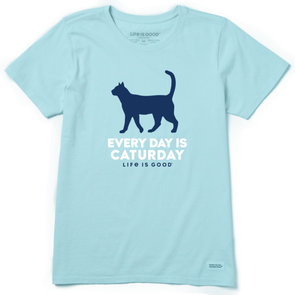 Women's Life is Good Every Day Is Caturday Crusher Tee