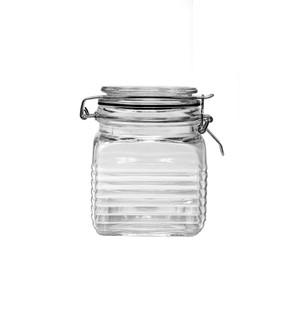 24oz Beehive Square Glass Jar