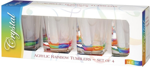 Rainbow Crystal Acrylic Tumblers 14oz -Set of 4