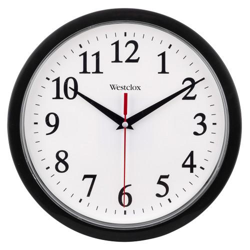 Westclox Wall Clock, Analog Display, Round, 10 In, Black