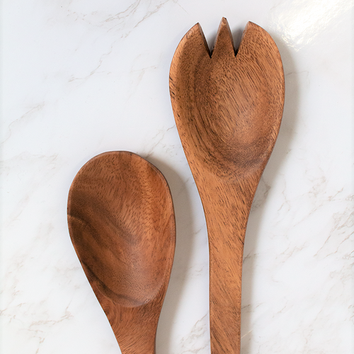 "Fork & Spoon Acacia Wood Serving Set, 10"", K0772-Pacific Merchants"