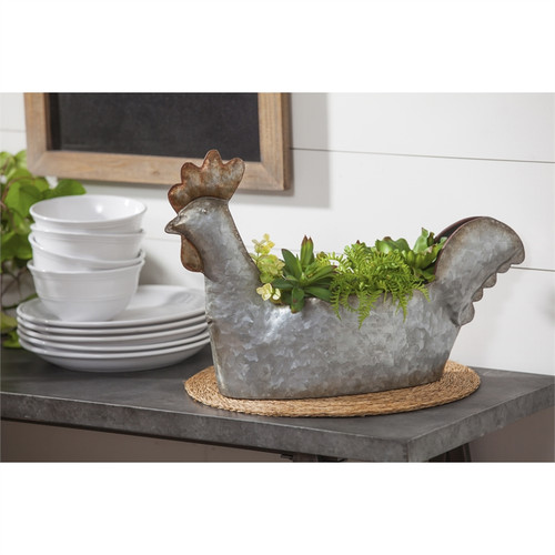 Metal Rooster Planter