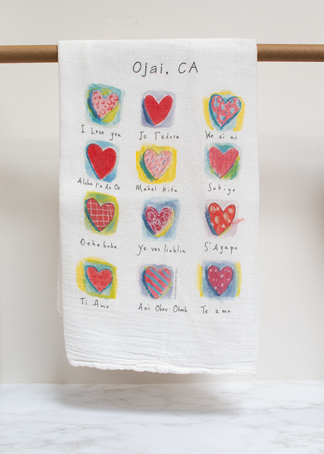 Love You Hearts Flour Sack Towel