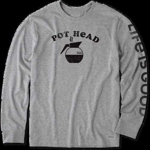 Men's Life is Good Coffee Pot Head Long Sleeve Crusher Tee
