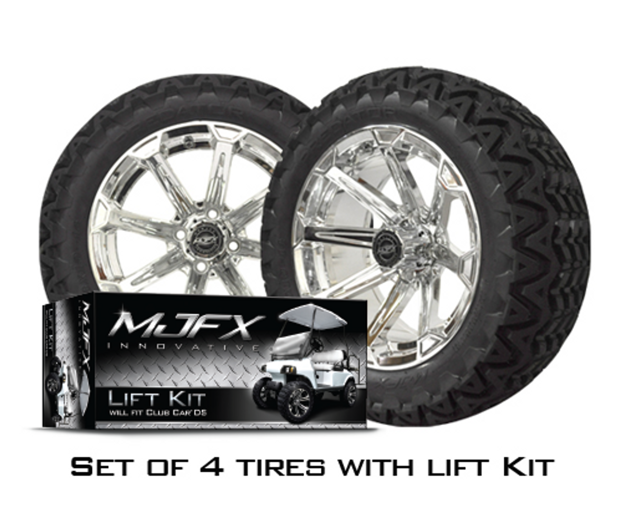 4 Vortex 14x7 Chrome W 23 10 5 14 Predator At Tires With Ds Lift