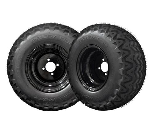 22X11X10 Predator tire on 10 inch black steel wheel