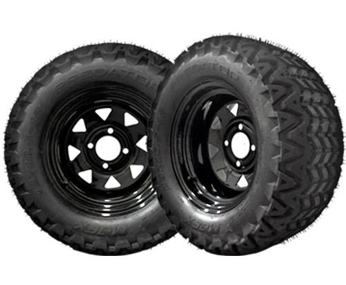 23X10.5X12 Predator Tire on 12 inch black steel wheel