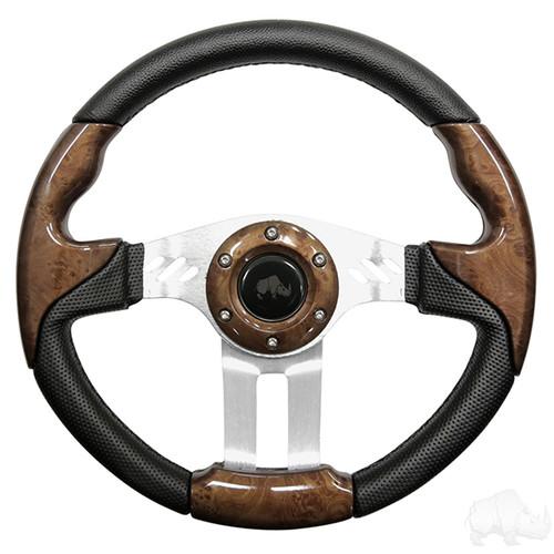 "Steering Wheel, Aviator 5 Woodgrain Grip/Brushed Aluminum Spokes 13"" Diameter"