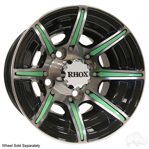 RHOX Color Wheel Insert for Golf Carts, Lime Green, Bag of 8 for RX150 Series Wheels
