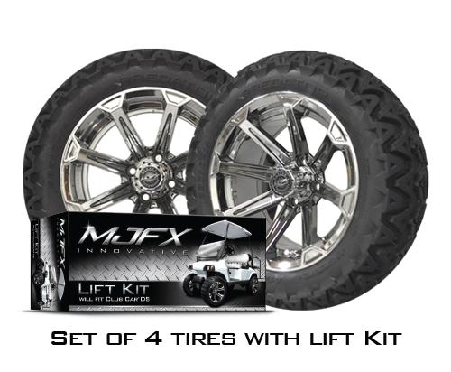 4 Vortex 14x7 Chrome Black W 23 10 5 14 Predator At Tires With Ds