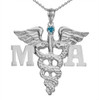 Medical Assistant necklace graduation pinning gifts. MA Charm 14K gold and sterling silver class discounts and quick ship