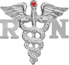 RN nursing pin with ruby graduation pinning ceremonies in solid sterling silver. Nursing school class discounts are available on these high quality nursing pins.