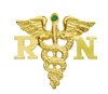 14K gold registered nurse RN graduation nursing pin with emerald.  Registered Nurses will cherish this classic nursing pin design as a nursing school remembrance.