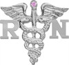 RN Nursing Pin with Pink Sapphire for Pinning Ceremony. A perfect gift of quality jewelry for your favorite registered nurse.  Our nursing pins are sterling silver.