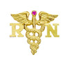 14K gold RN nursing pin with ruby  registered nurses pinning ceremonies.  Symbolize graduating from nursing school with this quality nursing pin and jewelry.