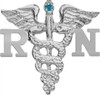 Silver RN nursing pin with blue diamond for graduation pinning ceremonies.  A classic gift for the graduating registered nurse and a nursing pin she will cherish.