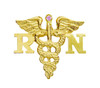 Nursing pin for RN pinning ceremony graduation made in 14K gold and set with a pink sapphire. Your favorite registered nurse will adore this nursing pin as a gift.