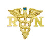 Graduation nursing pin in 14K with blue diamond for RN nursing school pinning ceremonies.  Registered nurses love jewelry and will cherish this quality nursing pin.