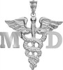 Medical Doctor MD charm for graduation pinning ceremony gifts.  MD jewelry in 14K gold and sterling silver for class discounts and quick shipping.